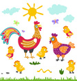 farm birds family cartoon flat rooster hen vector image vector image