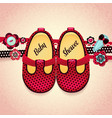 baby shower baby girl red shoes vector image vector image
