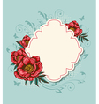 label and red peony vector image vector image