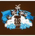 blue and brown tropical grunge vector image vector image