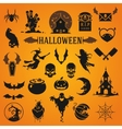 Halloween silhouette objects and icons vector image vector image