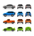 Cars Side Front And Back Icons Set vector image
