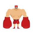 Boxer Athlete in protective helmet Strong man in vector image