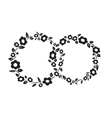 Black and white vintage Flower interlinked rings vector image