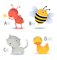 Alphabet with animals from A to D vector image