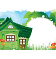 Green rural house vector image