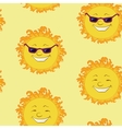 Seamless background smiling cartoon sun vector image
