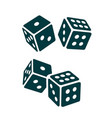 two black dice cubes on white background vector image