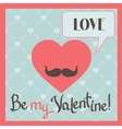 Vintage Valentines Day greeting card with heart vector image