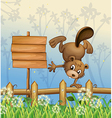 A playful beaver beside the empty signboard vector image vector image