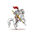 Knight on Horse with Sword vector image