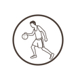 hand drawn doodle style basketball player icon vector image