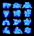 Set of blue linear zodiacal signs vector image