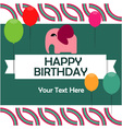 Birthday card with cute elephant vector image