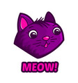 cute cat face and text meow vector image