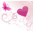 pink heart with flowers and butterfly isolated on vector image