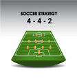 soccer strategy plan 4-4-2 vector image