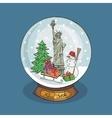 New york Christmas Snow globeDoodle landmark vector image