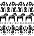 swedish dala horse pattern scandinavian design vector image