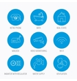 Wifi vide camera and mailbox icons vector image
