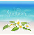 Realistic Sea Background Tropical Flower Beach vector image vector image