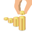 Male Hand Increase Stack Of Coins Increase Savings vector image vector image