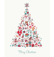 Christmas and new year hand drawn icon pine tree vector image