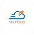 cloud upload technology logo vector image