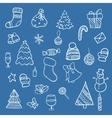 Doodle christmas elements vector image