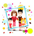 family in frame with colorful splashes isolated vector image