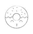 kawaii sweet donut dessert pastry cartoon vector image