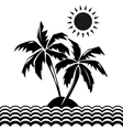 Palm trees and sun design elements vector image
