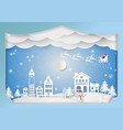 paper art style winter holiday for christmas vector image