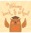 Welcome back to school Card with an owl vector image
