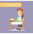 Woman work in the kitchen vector image
