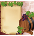 Wine background with grape barrel and paper vector image vector image