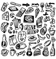 Fast food doodles set vector image vector image