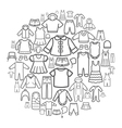 Line icons of children clothing vector image vector image