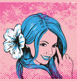 beautiful girl with flower in blue hair fashion vector image