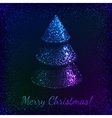 Blue shining glitter Christmas tree greeting card vector image