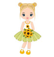 cute little girl with sunflowers vector image