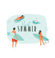 hand drawn abstract cartoon summer time fun vector image