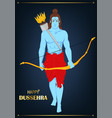 lord rama with bow and arrows for dussehra vector image