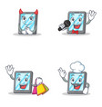 set of tablet character with devil karaoke vector image