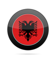 Flag of Albania Shiny black round button vector image