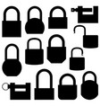 set of black icons lock vector image