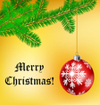 Christmas frame with ball and pine branch vector image