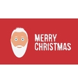 Hipster Santa claus Merry christmas wish on red vector image