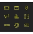 Media or multimedia icon set vector image
