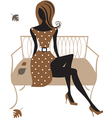 Silhouette of woman sitting on the bench vector image